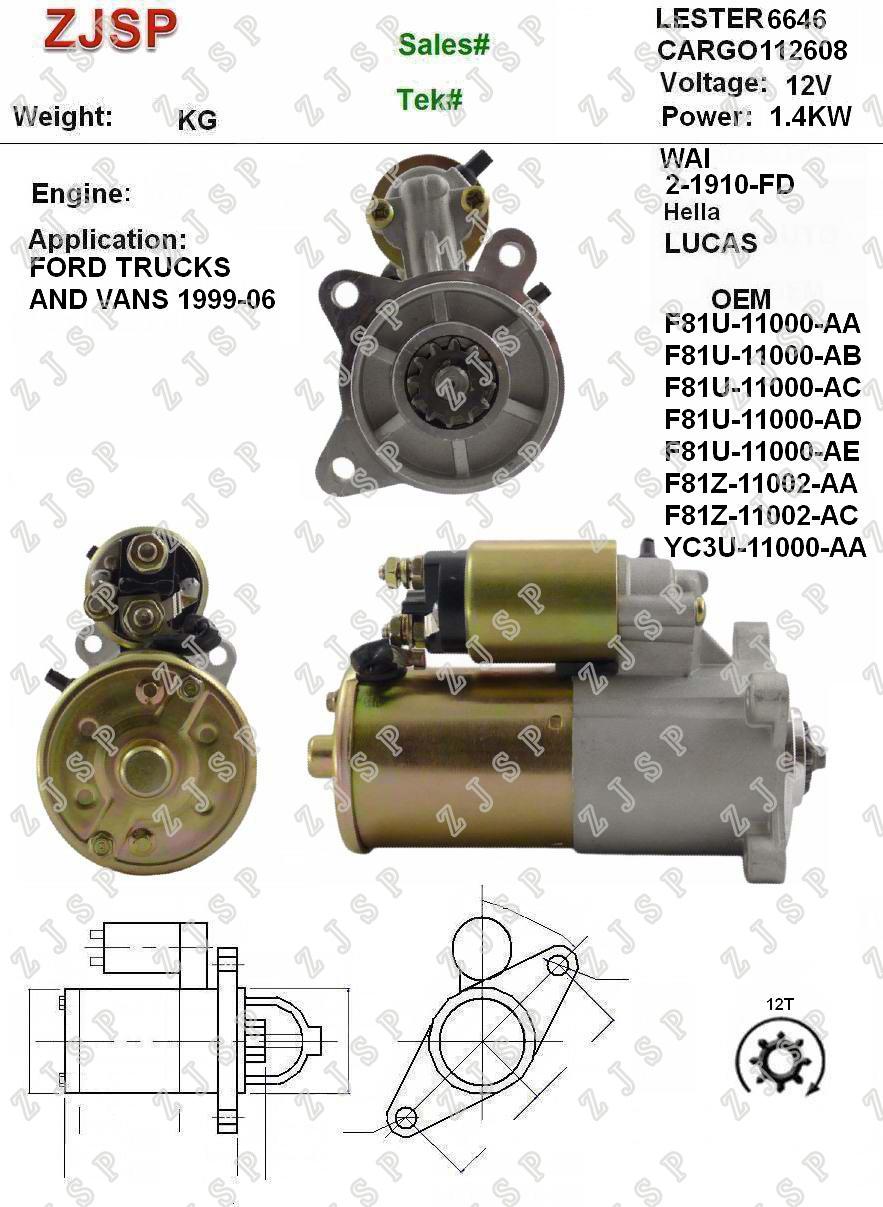 Starter ZJS-F-004 112608 F81U-11000-AA F81U-11000-AB F81U-11000-AC F81U-11000-AD F81U-11000-AE F81Z-11002-AA F81Z-11002-AC YC3U-11000-AA YC3U-11000-AB for Ford