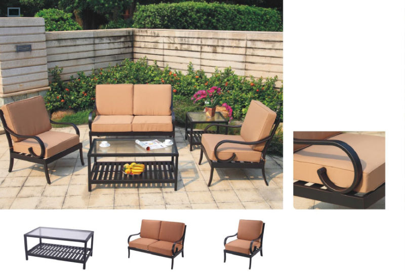 Hote Elizabeth America Traditional Cast Aluminum Outdoor Patio Furniture Dark Bronze Seating Sofa Set