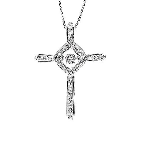 Fashion Jewelry Cross 925 Silver Dancing Diamond Pendants Necklace