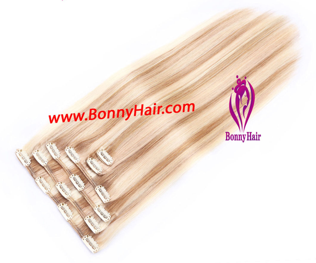 Clip in Hair Extension, 6 Pieces/Set, P18/60, 100% Human Remy Hair, High Quality, Favorable Price, Customized Order Available, Many Colors and Styles Available