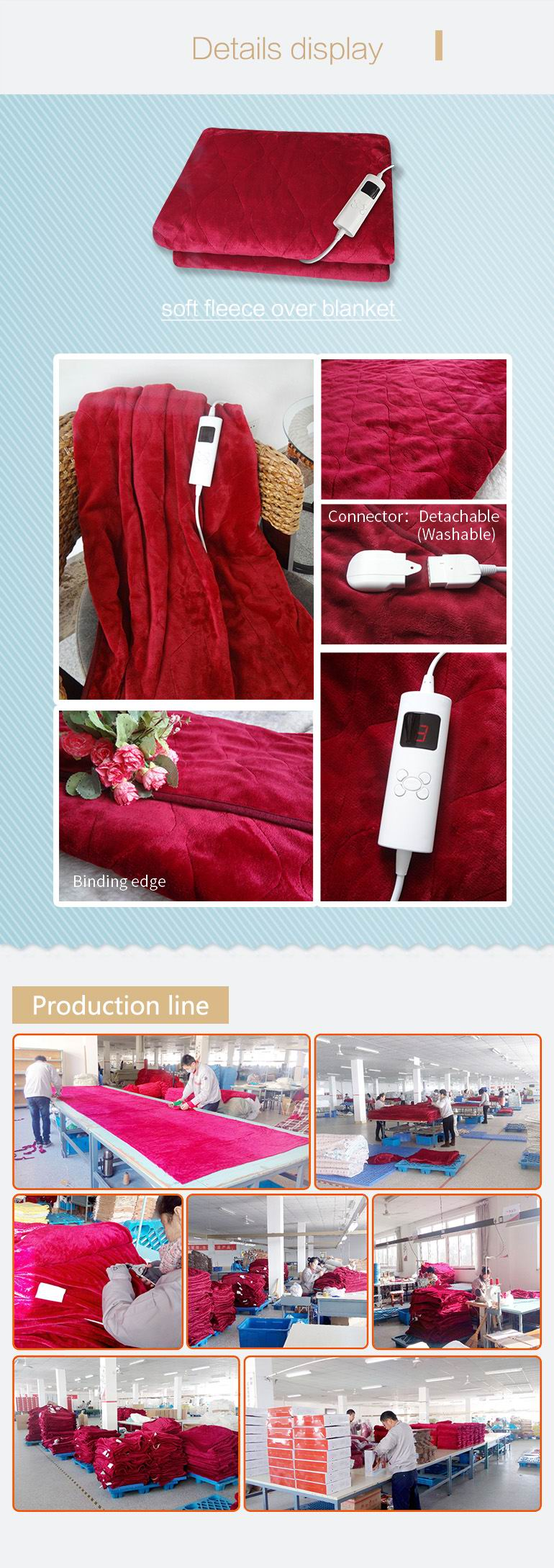 Electric Over Blanket with 5 Heat-Setting Controller for European Market