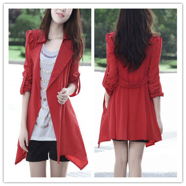 Spring Autumn Fashion Cheap Long Style Red Women Trench Coat