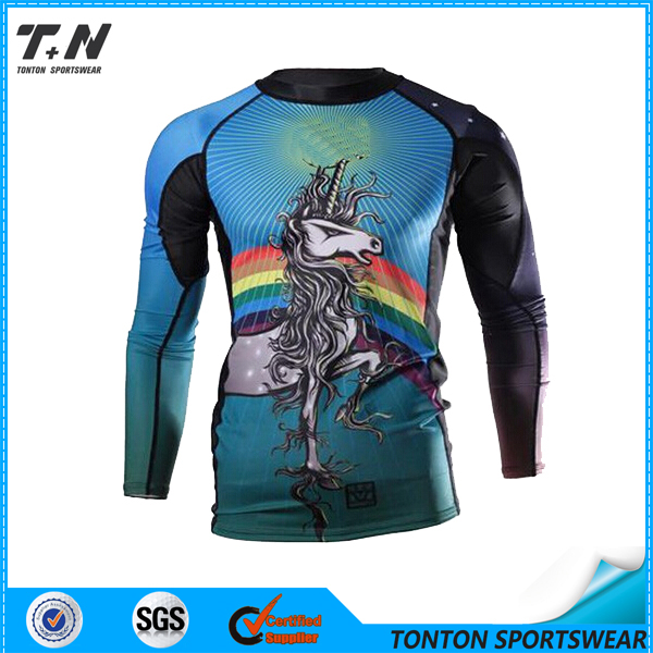 Sublimation Print Moisture Wicking Custom Mens Compression Wear