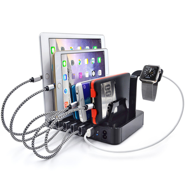 6 USB Multi Ports Charger with Stand Dock for iPhone 5 6 7 iPad Samsung