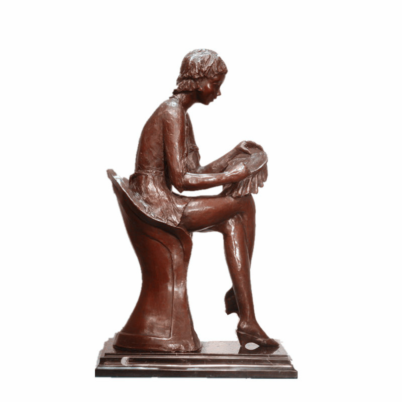 Female Art Figure Bronze Sculpture Mother Sew Home Decor Brass Statue TPE-991
