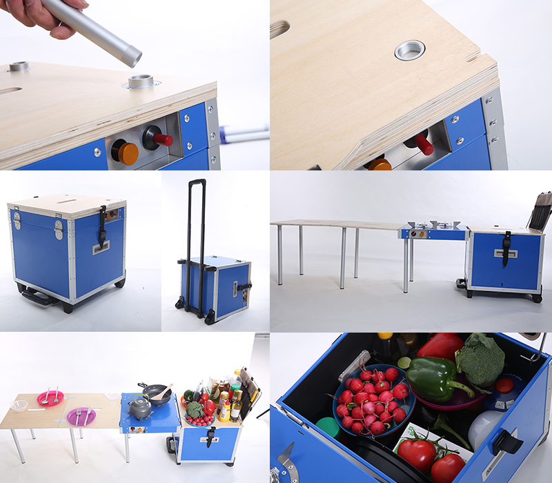 up-to-Date Folding Picnic Table with Gas Stoves for Camping