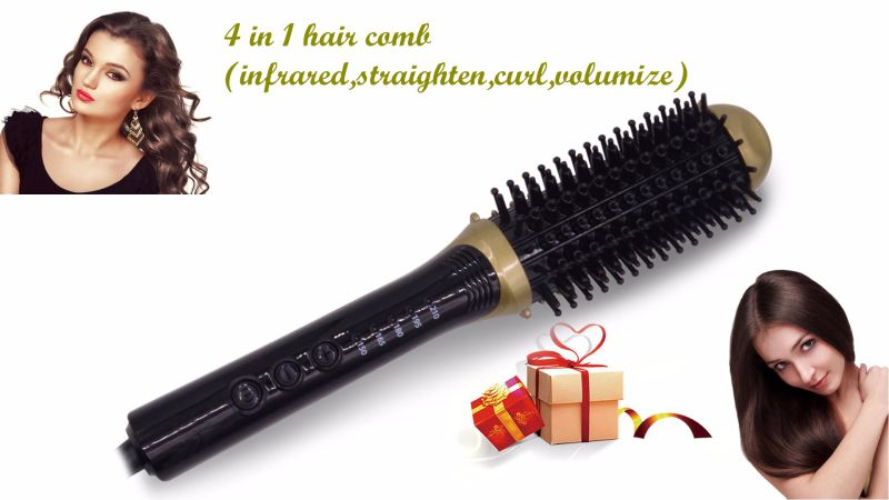 Infrared Straight Curl and Volumize Multifunctional Hair Comb