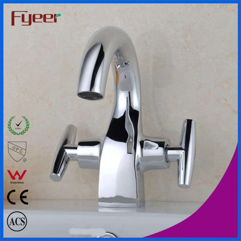 Fyeer Chrome Plated Crooked Long Spout Dual Handle Deck Mounted Basin Sink Faucet Water Mixer Tap Wasserhahn
