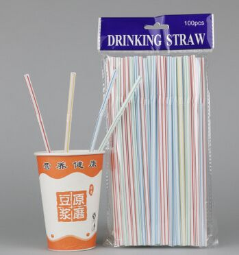 Disposable Plastic Bubble Tea Straw with Paper Pack