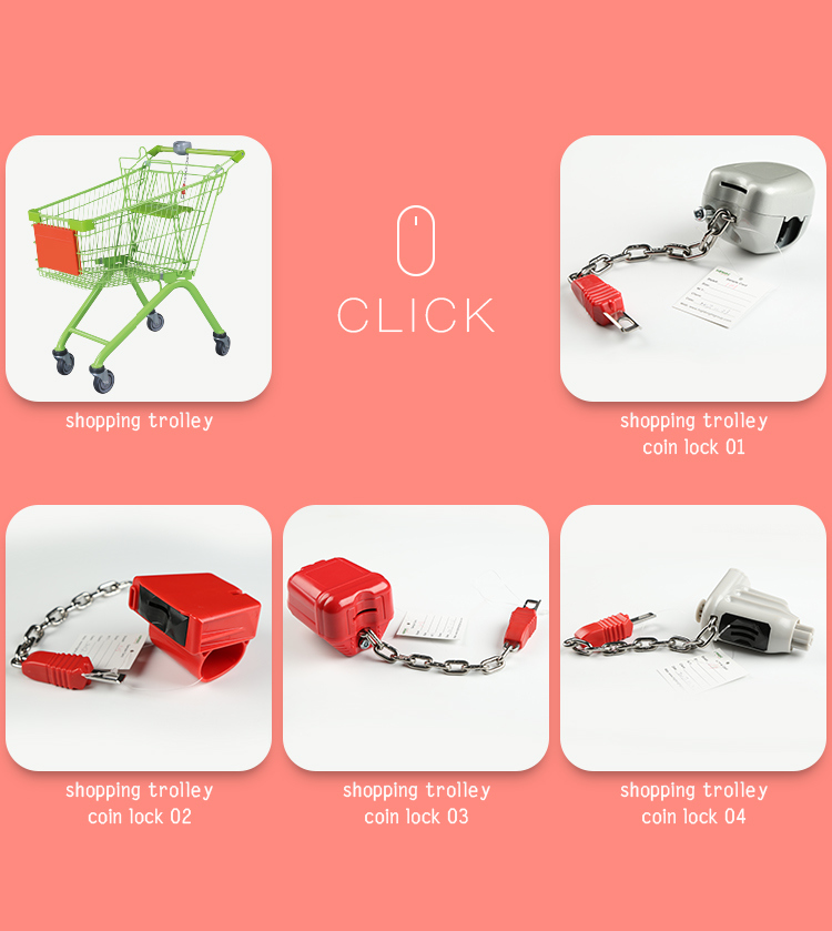 Plastic Supermarket Shopping Trolley Coin Lock