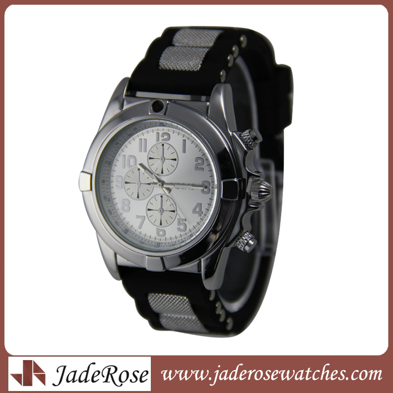 Silicone Strap Linked Metal Quartz Sport Watch