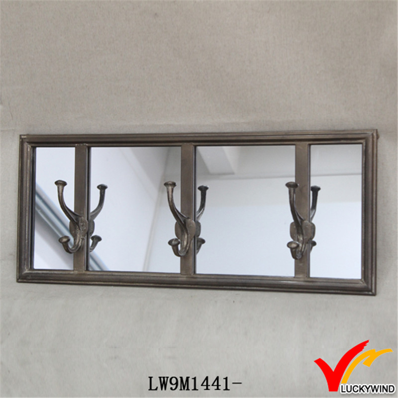 Hook Antique Wall Decorative Mirror with Metal Frame