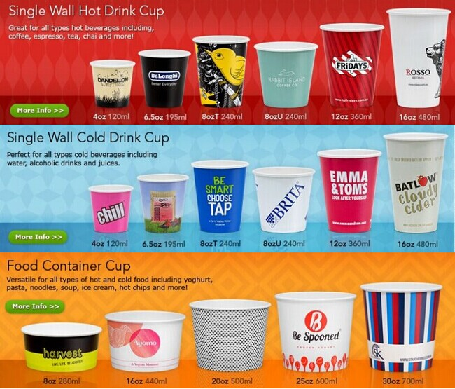 Disposable Biodegradable Single Wall Vending Paper Coffee Cups