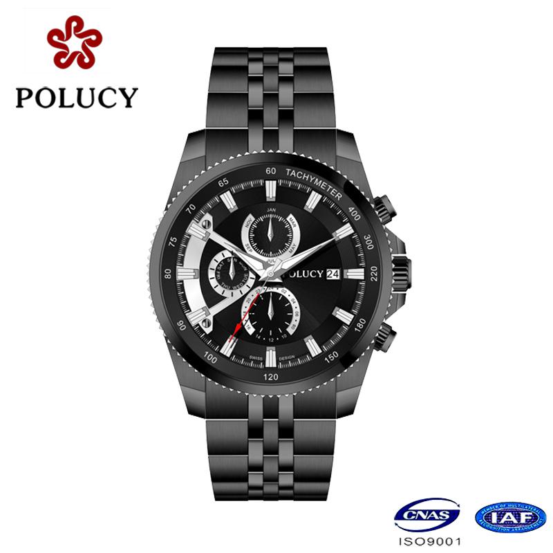 Custom All Stainless Steel Black Men Watches Luxury