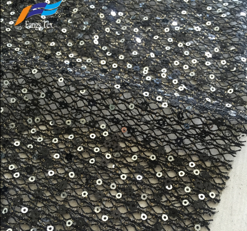Nylon Polyester French Sequins Net Lace Dress Fabric