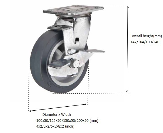 Swivel TPR Rubber Caster with Brake Silence