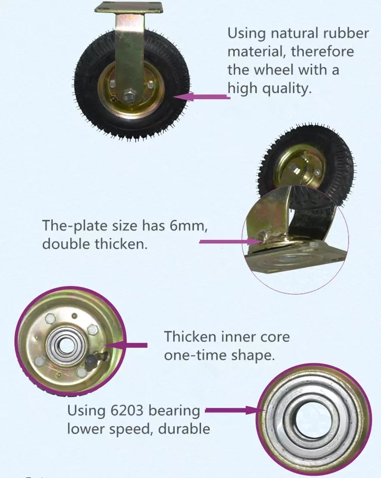 8 Inch Launching Wheels Small Wheel Swivel Caster with Pneumatic Tire