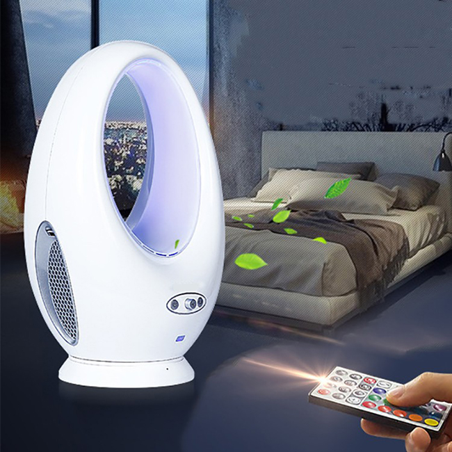 10 Inch Remote Control Electric Bladeless Fan Oscillating Fan with LED Scene Lights