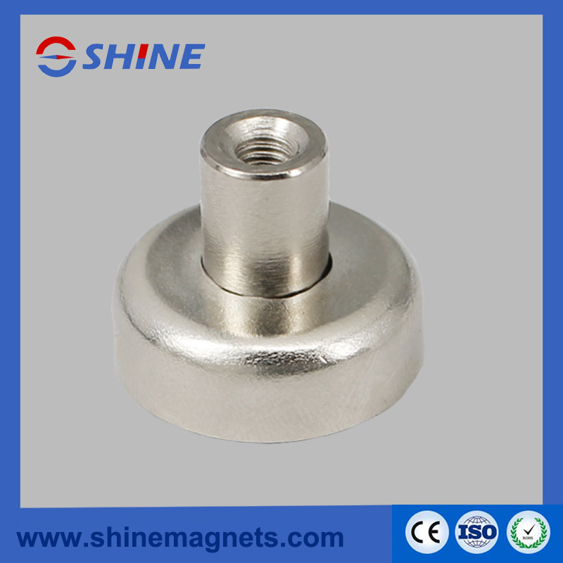 Strong Nickle Plated NdFeB Magnetic Holder Pot Magnet with Thread Hole