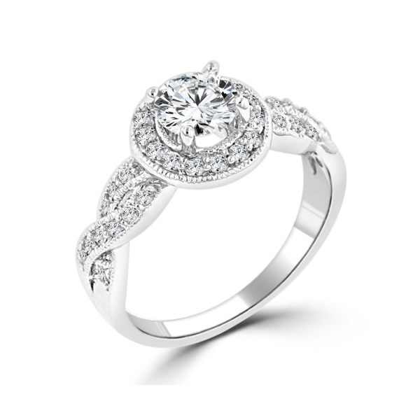 925 Silver Halo Cubic Zirconia Engagement Ring