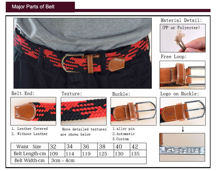 Genuine Leather End Fashion Alloy Pin Buckle Braided Canvas Belt