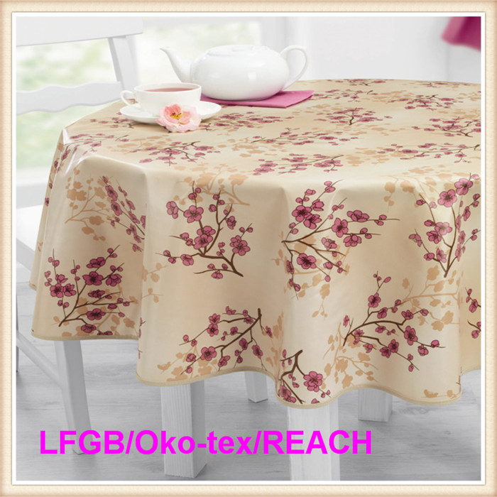 Cheap PVC Table Cloth with Flannel Backing Made in China