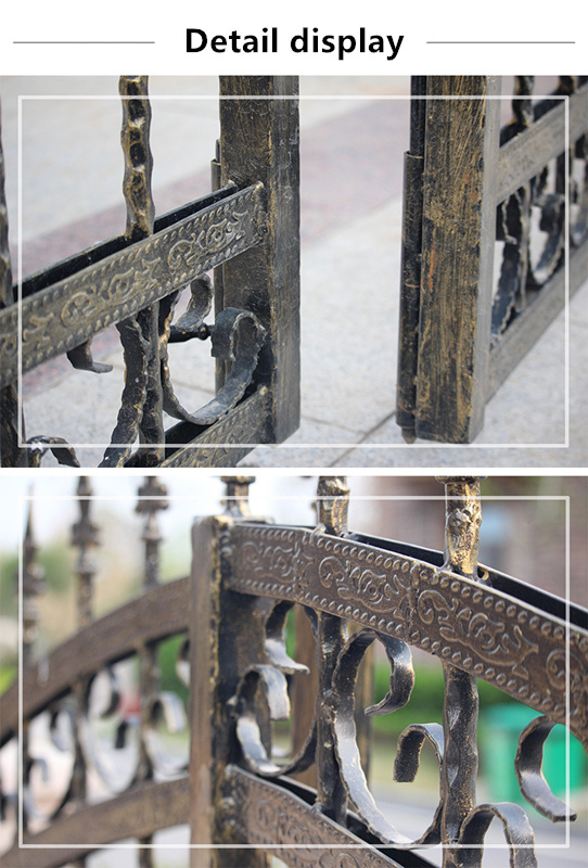 Wrought Iron Pool Style Fence Top Ornamental Iron Fence with Post