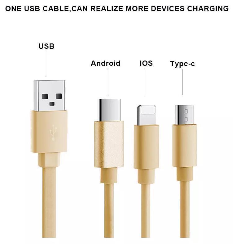 Câble USB 3 en 1 Câble de charge rapide Android Type C