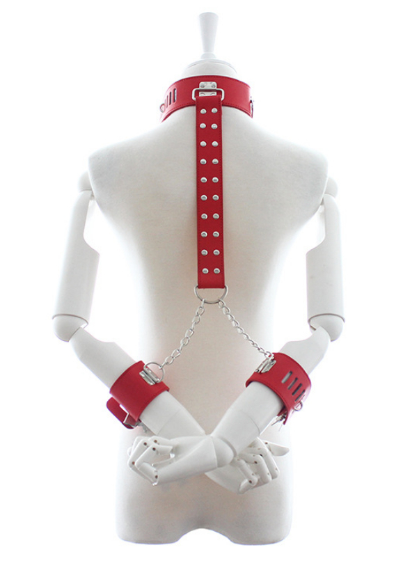 Adult Fantasy PU Leather Handcuffs Neckcuffs Sex Toy Lingerie Restraints