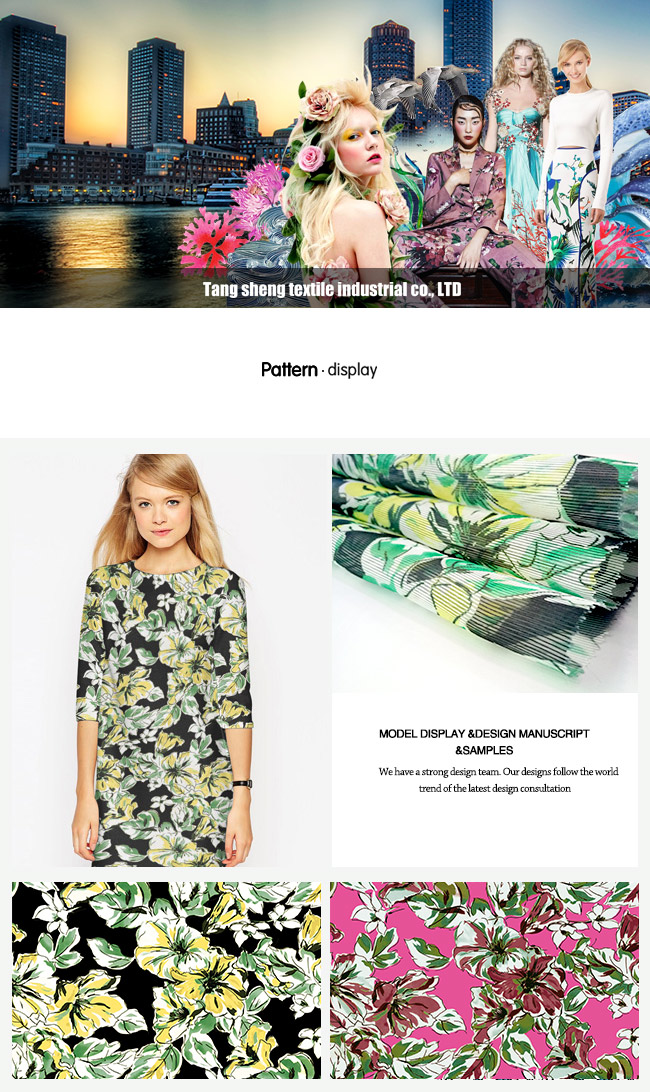 Watercolor Flower Design Printed Stripe Organza Garment Fabric