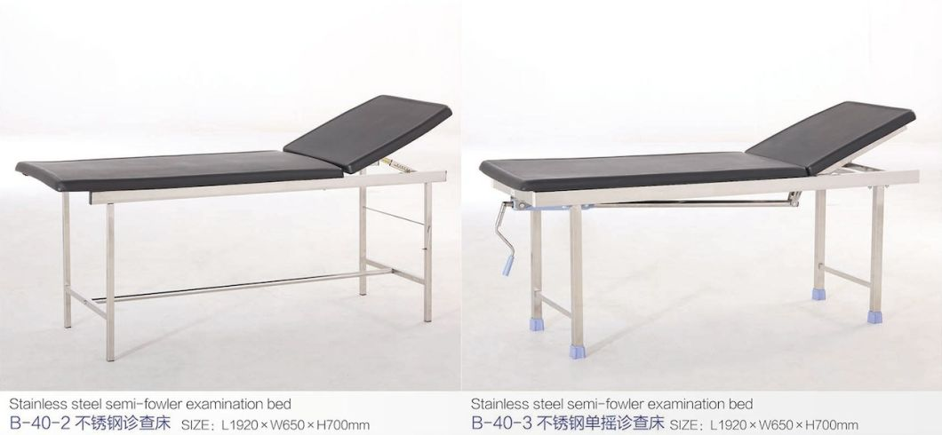 Stainless Steel Semi-Fowler Examination Bed B-40-2 with CE