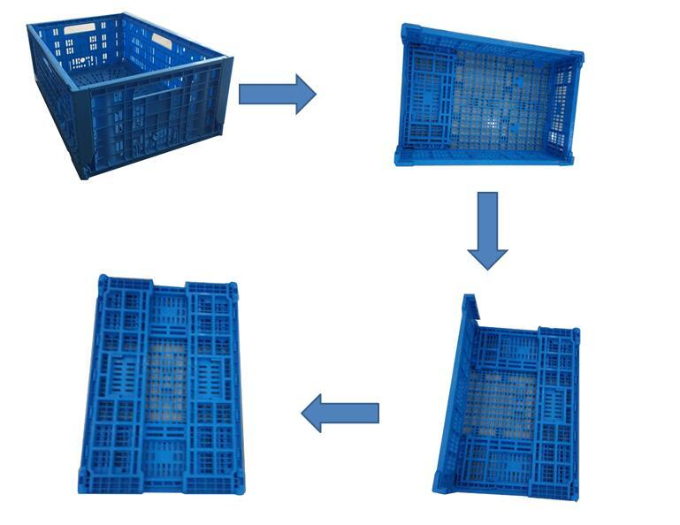 Supermarkets Fruit and Vegetables Use Foldable Plastic Turnover Baskets Crates with Collapsible Design