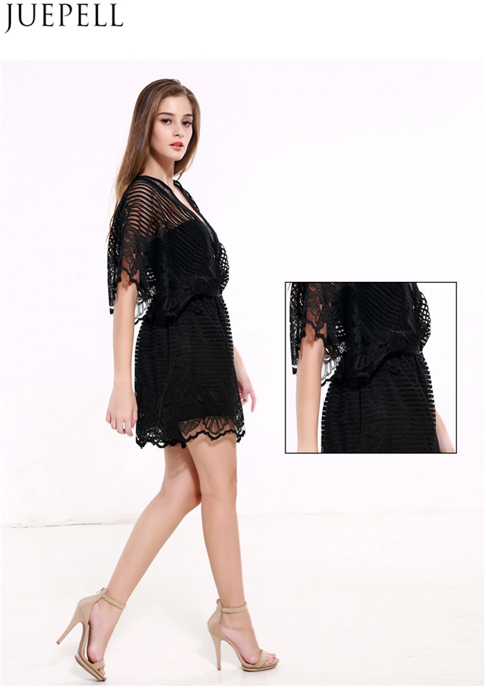 Summer New Women Explosion Models Sexy Lace Stitching Hollow Halter Jumpsuit Dress