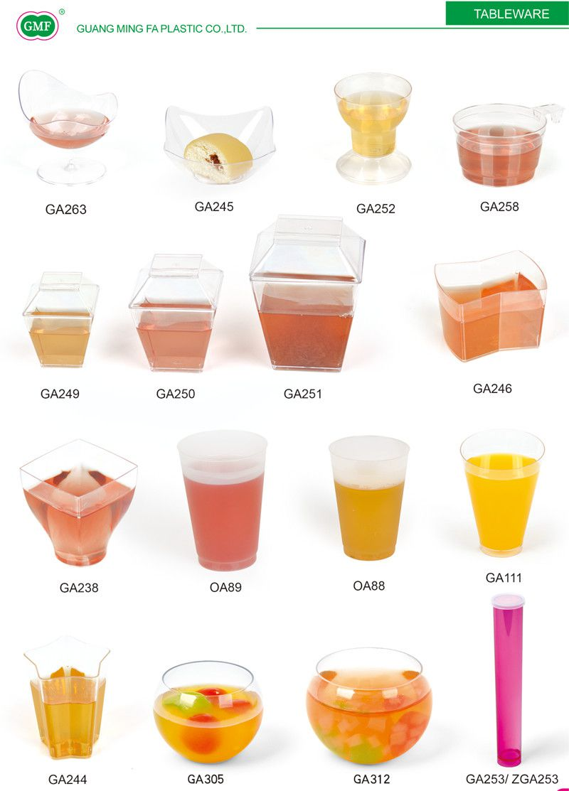 PP/PS Plastic Cup Oval Cup with Spoon in Oval Box