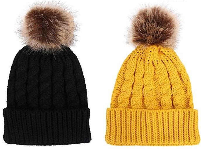 Hand Knit Hat Beanie Cap Headwear with Fur POM POM