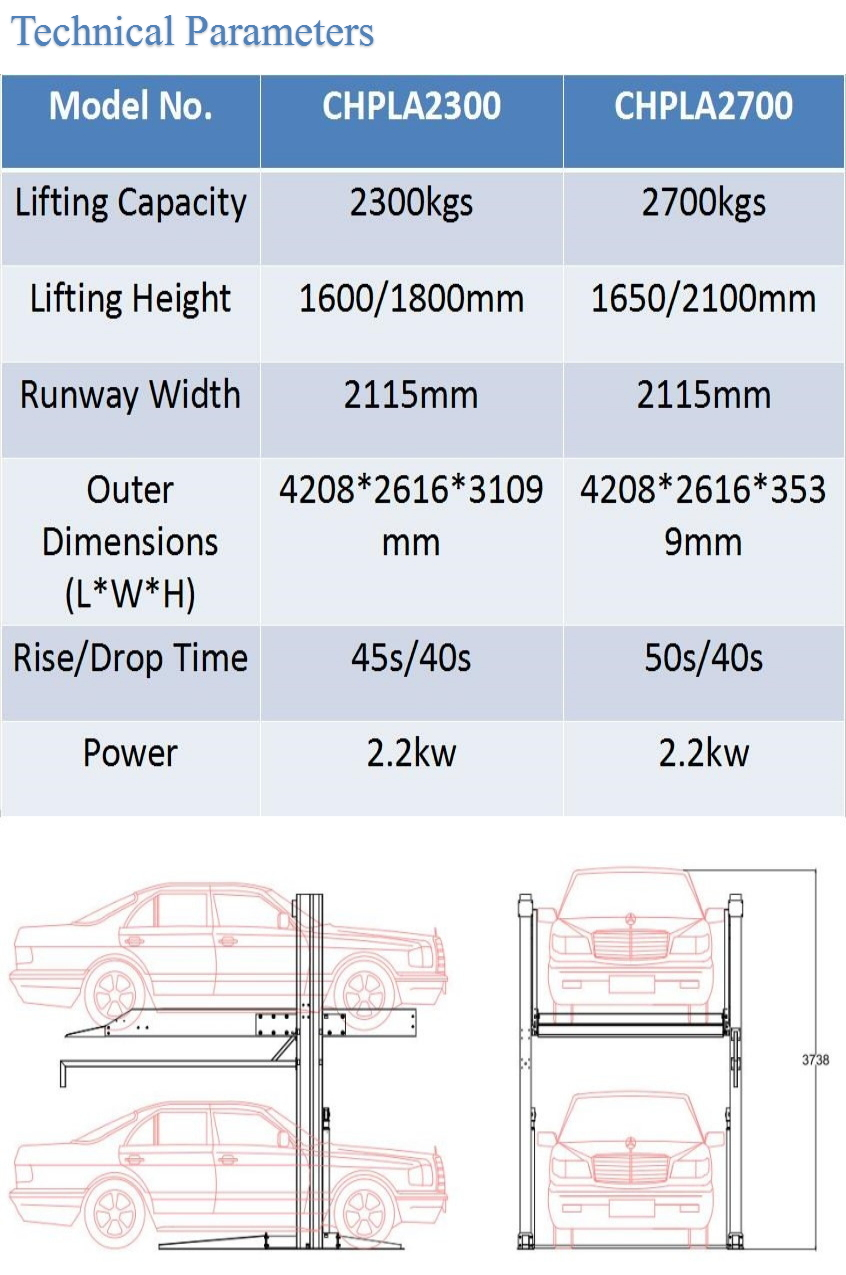 Double Cylinder Home Garage Hydraulic 2 Post Car Parking Lift