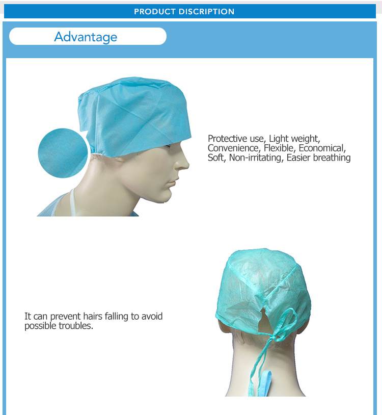 High Quality Disposable Surgical Nonwoven Doctor Cap Used of Hospital