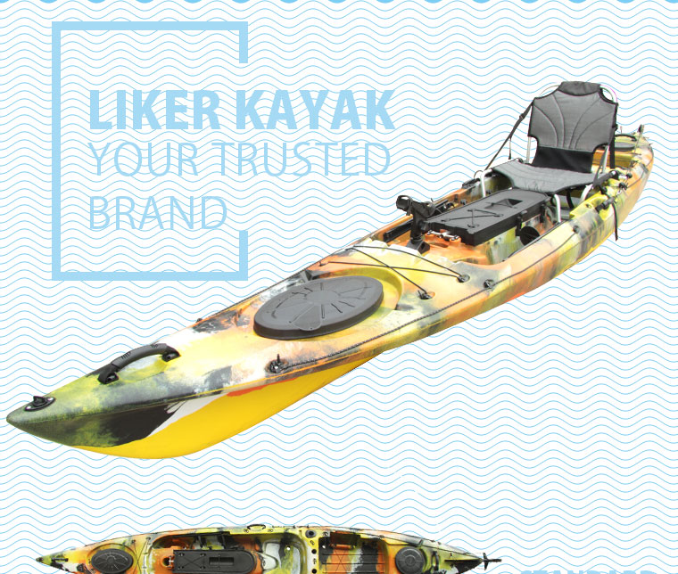 Motor Boats Fishing Kayak Sit on Top Single Seat with 2in1 Seat&Trolley