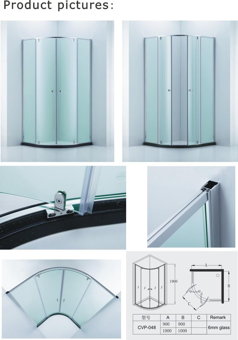 Australian Standard Quadrant Shower Enclosure/Round Bathroom Shower Cabin with Double Pivot Doors (CVP-048)