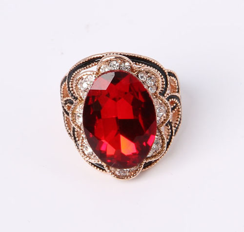 Gold Plated Simple Style Jewelry Ring with CZ and Rhinestones