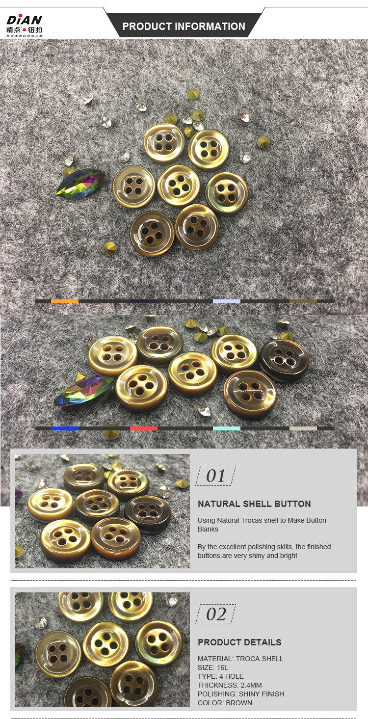 Real Trocas Shell Buttons Natural Shell Shirt Buttons Geunine Shell Buttons Pearl Buttons for Shirt