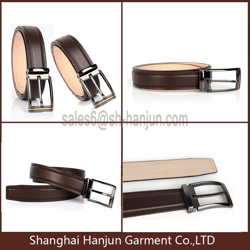 Top Grain Formal Genuine Leather Metal Bucklt Belt for Men