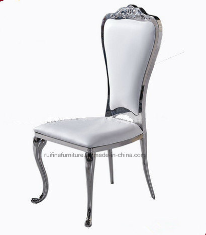 2017 Newest Model European Style Cameo on Chair Back Stainless Steel Banquet Chair