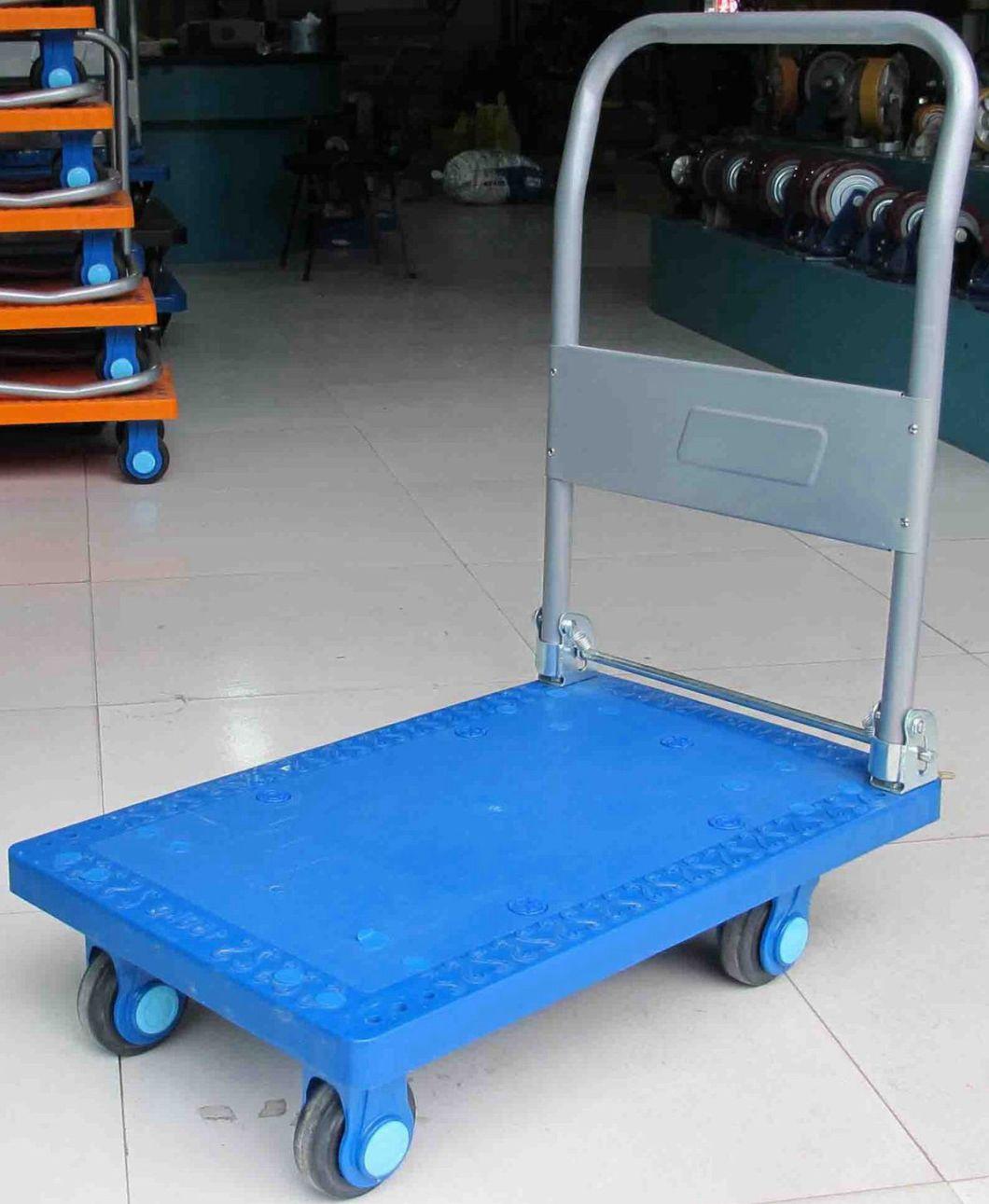 150kg High Quality Plastic Platform Hand Cart Folding Pallet Industrial Trolley