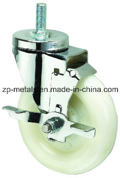 Medium-Duty White PP Thread Caster Wheel with Side Brake