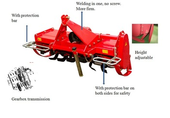 New 25-45HP Mi-Heavy Rotary Tiller with Pto Shaft