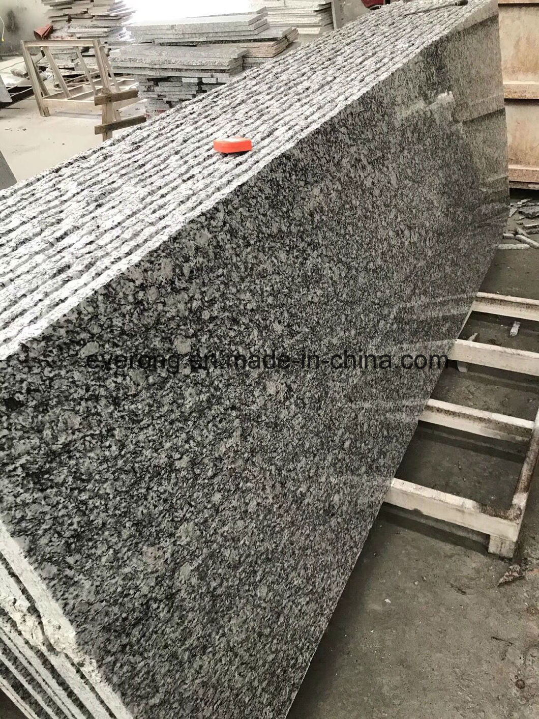Polished Chinese Natural Sea Flower Grey Granite Stone Stairs Tread Steps