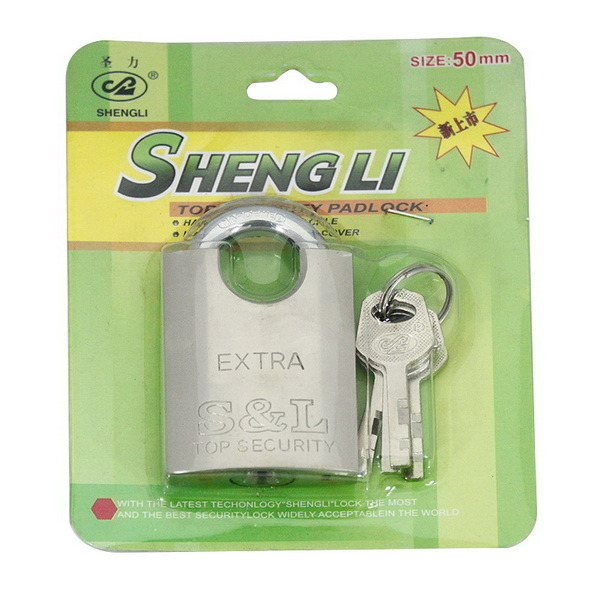 Nickel Plated Arc Shape Whole-in Wrapping Padlock with Vane Keys