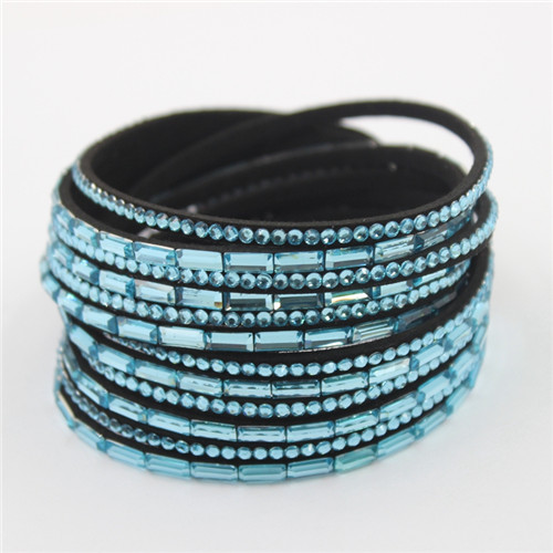 Hot Selling Rhinestone Velvet Leather Crystal Wrap Deluxe Bracelets