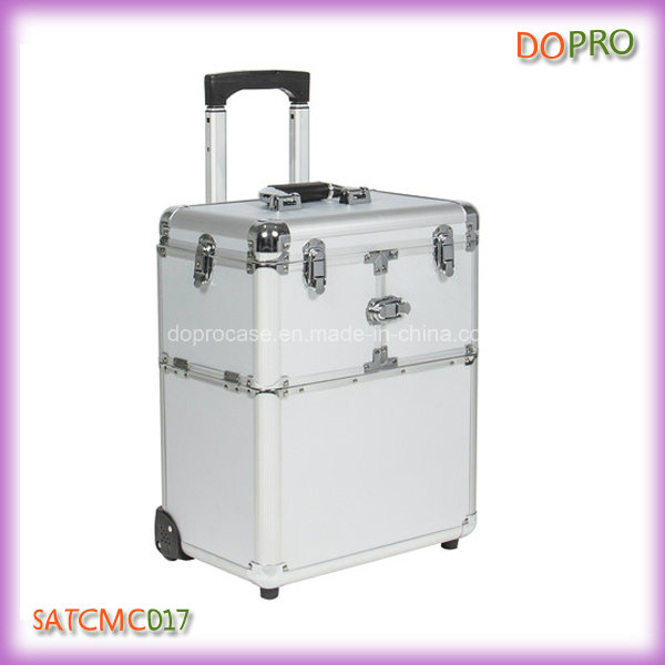Professional Makeup Travel Case Silver Makeup Suitcase on Wheels (SATCMC017)